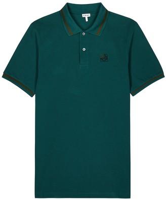 Loewe Teal pique cotton polo shirt