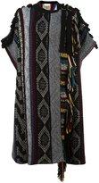 Chloé fringed jacquard cape - women - Acrylic/Polyamide/Cashmere/Wool - S
