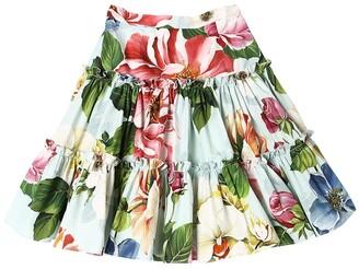 Dolce & Gabbana FLOWER PRINT COTTON POPLIN SKIRT