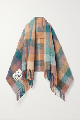 Acne Studios Fringed Checked Knitted Scarf - Pink