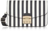 Furla Black and White Striped Leather Metropolis Small Shoulder Bag