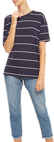 Jaeger Jersey Fine Striped Top, Navy/Ivory
