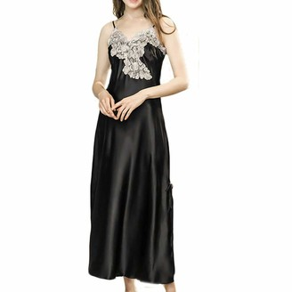 Jiegorge Underwear Lingerie Set New Women Simulation Silk Pajamas Sexy Lace Lingerie Bride Nightdress Sleepwear