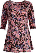 Glam Black & Coral Paisley Maternity Scoop Neck Tunic