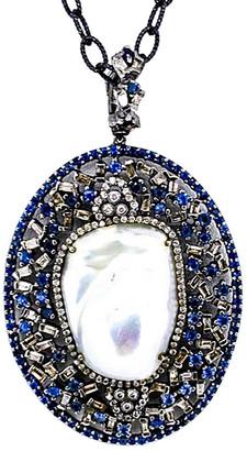 Arthur Marder Fine Jewelry Silver 2.00 Ct. Tw. Diamond, Sapphire, & 19-25Mm Pearl Pendant Necklace