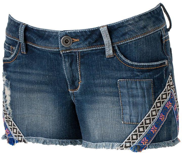 Mudd deco tape frayed cut-off shorts - juniors