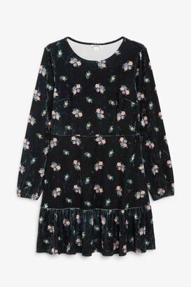 Monki Velvet long-sleeve dress