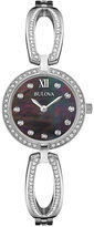 Bulova Women's Crystal Accent Stainless Steel Bangle Bracelet Watch 26mm 96L224