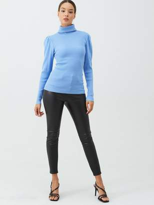 Very Fine Ribbed Puff Sleeve Jumper - Pale Blue