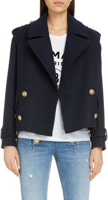 Balmain Crop Double Breasted Wool & Cashmere Peacoat