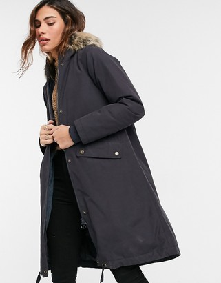 Barbour Mirabelle parka coat with faux fur hood in navy