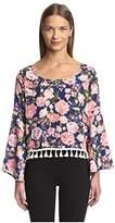 Romeo & Juliet Couture Women's Long Sleeve Woven Top