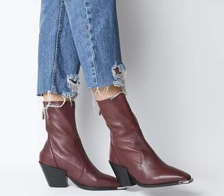 Office Ashen Western Sock Boots Burgundy Leather