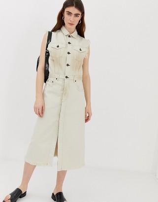 Cheap Monday organic cotton denim button up dress-White