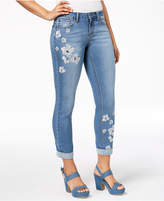 Earl Jeans Embroidered Cuffed Skinny Jeans