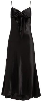 Maria Lucia Hohan Ziya Bow-embellished Silk-satin Midi Dress - Black