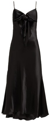 Maria Lucia Hohan Ziya Bow-embellished Silk-satin Midi Dress - Womens - Black