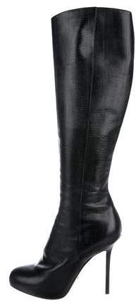 Sergio Rossi Embossed Knee-High Boots