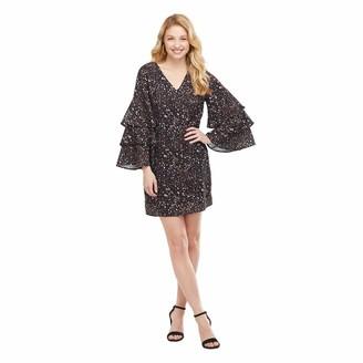 Mud Pie Women's Hailen Tiered Sleeve Dress (Black Large)