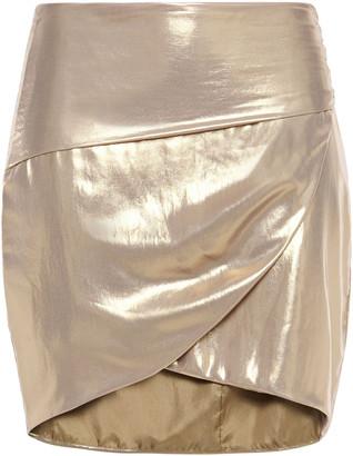 Mason by Michelle Mason Wrap-effect Lame Mini Skirt
