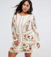 Frock And Frill Plus All Over Embellished Rose Dress With Long Sleeves