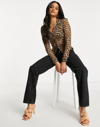 ASOS DESIGN fitted mesh button-down shirt in leopard print