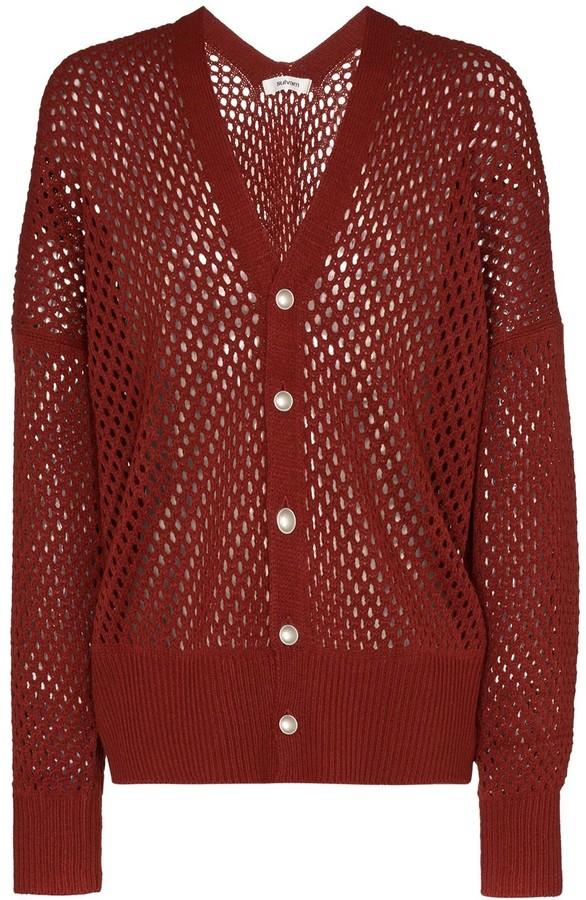 Sulvam netted button-front cardigan
