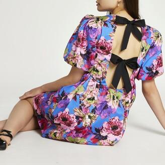 River Island Womens Blue floral bow back mini dress