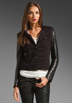 J Brand Blackened Denim Jacket with Leather Sleeve