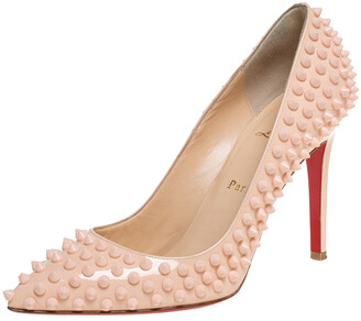 Christian Louboutin Beige Patent Leather Pigalle Spikes Pointed Toe Pumps Size 38