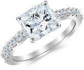 Houston Diamond District 0.93 Carat t.w. 14K White Gold Princess Classic Prong Set Diamond Engagement Ring SI1-SI2