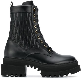 Bally Quilted Chunky Sole Combat Boots