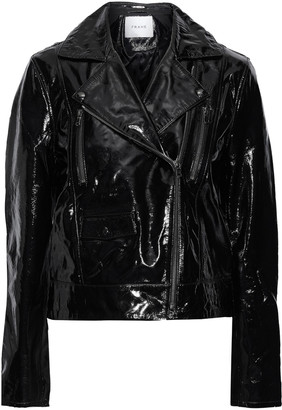 Frame Crinkled Patent-leather Biker Jacket