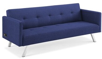 "Serta 71.25"" Square Arm Convertible Sofa Fabric: Navy Blue"