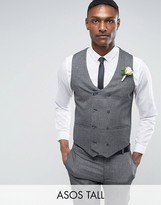 Asos TALL WEDDING Skinny Suit Vest in Slate Gray Woven Texture