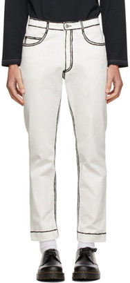 Daniel W. Fletcher Off-White Painted Edge Jeans