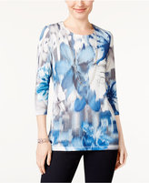 Alfred Dunner Petite Printed Necklace Top