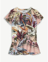 Molo Robbin palm tree-print crepe peplum T-shirt 4-14 years