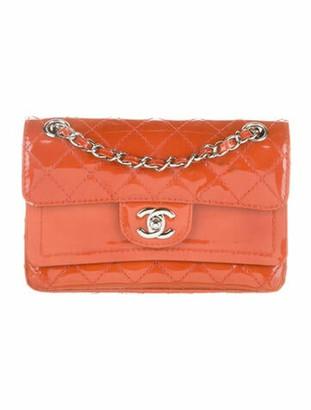 Chanel New Mini Patent Double Flap Bag orange