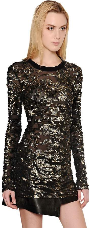 Isabel Marant Sequin Embellished Silk Georgette Top