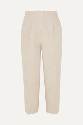 MICHAEL Michael Kors Cropped Linen Tapered Pants - Neutral