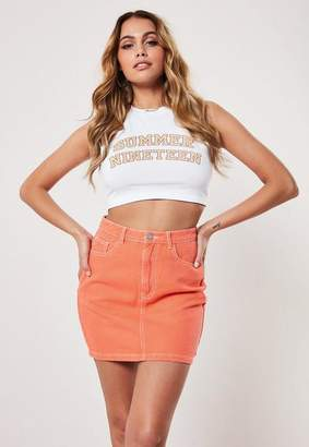 Missguided Straight Fit Contrast Stitch Denim Skirt