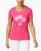 Karen Scott Petite Cotton Palm Tree Graphic T-Shirt, Only at Macy's