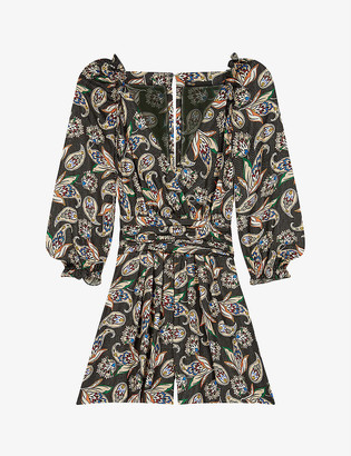 Maje Isley paisley-print satin playsuit