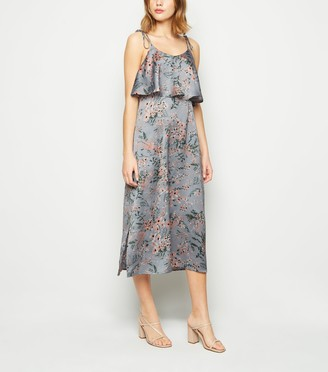 New Look Blue Vanilla Light Floral Layered Midi Dress