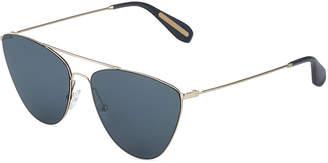 BCBGMAXAZRIA Metal Cat-Eyed Aviator Sunglasses