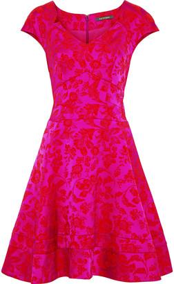 Zac Posen Flared Satin-jacquard Dress