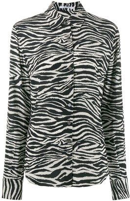 Derek Lam 10 Crosby Zebra Print Button Down Shirt