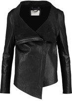 Muu Baa Muubaa Jersey-Trimmed Leather Biker Jacket
