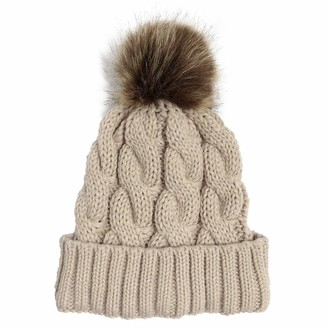 CHMORA Winter Hats for Women - Warm Knitted Caps - Outdoor Knitted Beanie Hat - Knit Hats with Faux Fur Pom Pom Hat - Bobble Pom Pom Hats